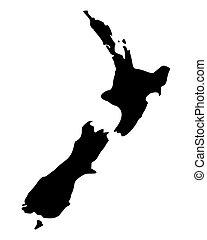 zelândia, mapa, novo