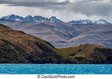 zelândia, montanha, tekapo, lago, gama, novo, paisagem, vista