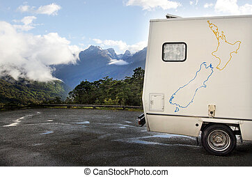 zelândia, novo, fiordland, -