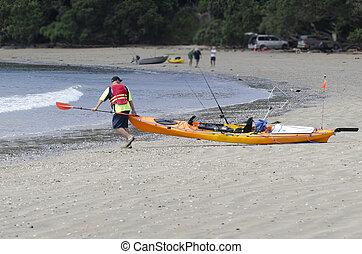 zelândia, novo, kayaking, mar