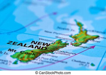 zelândia, novo, mapa