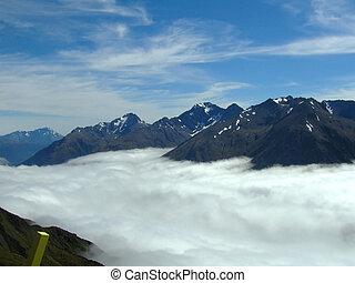 zelândia, novo, nuvens, acima
