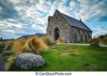 Zelândia, pastor, bom, construído,  Tekapo,  since, lago, igreja, Novo,  1935