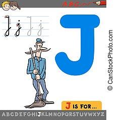 zelador, j, personagem, caricatura, letra
