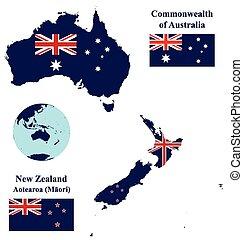 zelanda, bandiera, australia, mappa, nuovo