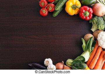 zelenina, dále, dřevo, grafické pozadí, s, proložit, jako, recipe.