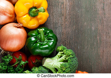 zelenina, dále, dřevo, grafické pozadí, s, proložit, jako, text., organický, strava.