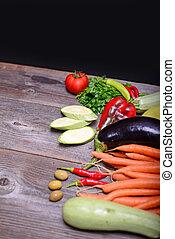 zelenina, dále, dřevo, grafické pozadí, s, proložit, jako, text