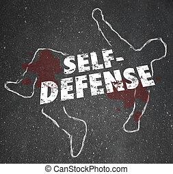 zelfdefensie, woorden, krijt, schets, lichaam, verdedigen,...