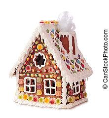 zelfgemaakt, gingerbread huis