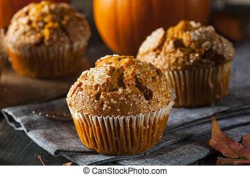 zelfgemaakt, herfst, pompoen, muffin