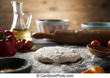 zelfgemaakt, italiaanse , pizza, voorbereiding