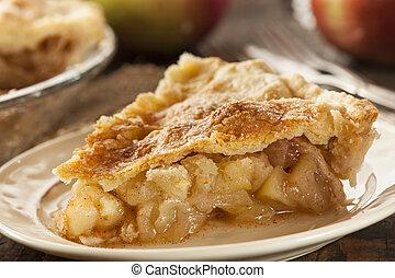 zelfgemaakt, organisch, appeltaart, dessert