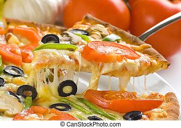 zelfgemaakt, pizza, met, fris, tomaat, olive, paddenstoel,...