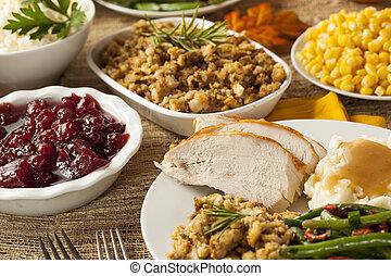 zelfgemaakt, turkije, dankviering diner