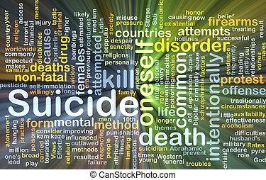 zelfmoord, achtergrond, concept, gloeiend