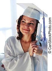 zelfs, vrouw, jonge, diploma., een diploma behaald, vrolijke
