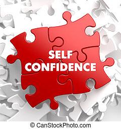 zelfvertrouwen, rood, puzzle.