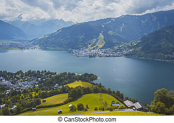 Zell am See, summer landscape with mountains and lake in Austria