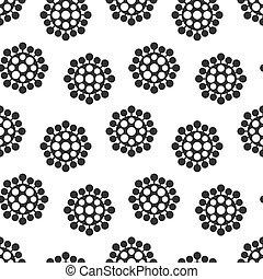zelle, endlos, schwarz, bakterien, seamless, hintergrund, vektor, künstlerisch, karikatur, pattern., virus, design., weißes
