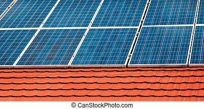 zellen, von, sonnenenergieausschüsse, auf, der, dach, von, a, gebäude