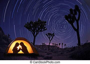zelt, kinder, camping, nacht