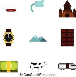 země, švýcarsko, ikona, dát, byt, móda