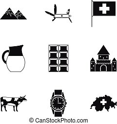 země, švýcarsko, ikona, dát, jednoduchý, móda