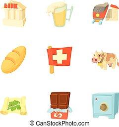 země, švýcarsko, ikona, dát, karikatura, móda