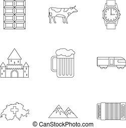 země, švýcarsko, ikona, dát, nárys, móda