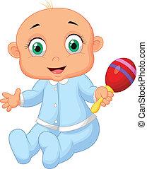 zenés, csecsemő fiú, játékszer, karikatúra