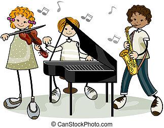 zenés, gyerekek