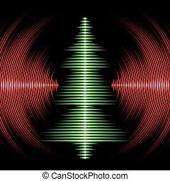 zenés, karácsonyfa, kártya, noha, vinyl, barázdál