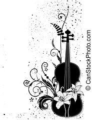 zenés, vektor, zenemű, virágos