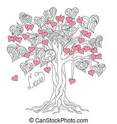 zen, árvore, de, amor