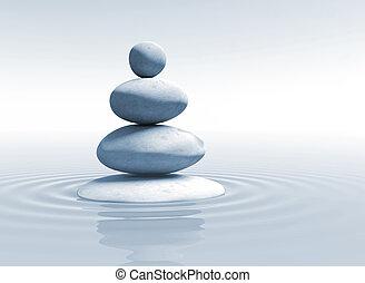zen, équilibre, -, pierres