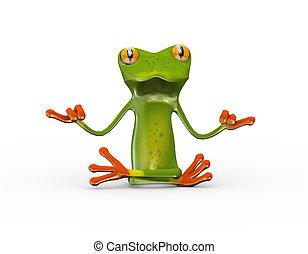 zen, 3d, yoga, kikker, positie