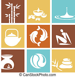 Zen and spa icons and logos
