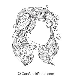 Zen art girl. Portrait of a female with zentangle hair for the adult antistress coloring page on white background.