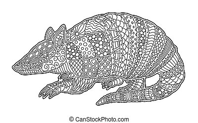 Zen art with detailed cartoon armadillo silhouette