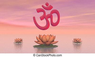 Zen aum - 3D render - Red aum upon three beautiful lily...