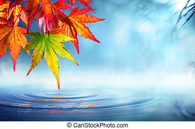 zen autumn - red maple leaves
