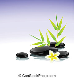 Zen background with bamboo, stones and frangipani flower