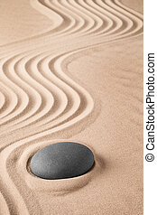 Zen background with stone and pattern of lines