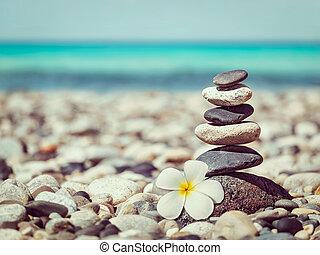 Zen balanced stones stack with plumeria flower