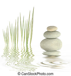 Zen Beauty - Zen abstract of spa stones and bamboo grass...