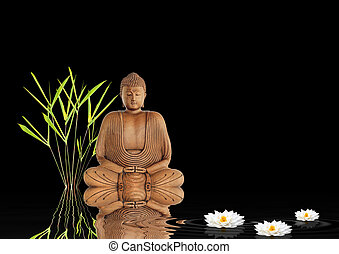 Zen Buddha Silence - Zen abstract garden of buddha in...