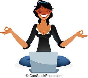 Zen business woman relaxing in lotus position in front of...
