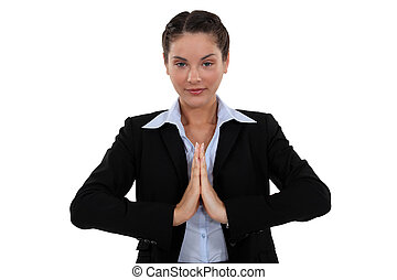 Zen businesswoman