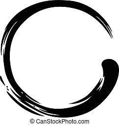 zen, círculo, pintar escova, apoplexia, vetorial, ilustração